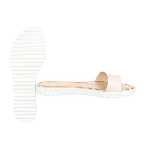 Ital-Design Pantoletten Damenschuhe Jazz & Modern Leichte Sandalen/Sandaletten Beige T165