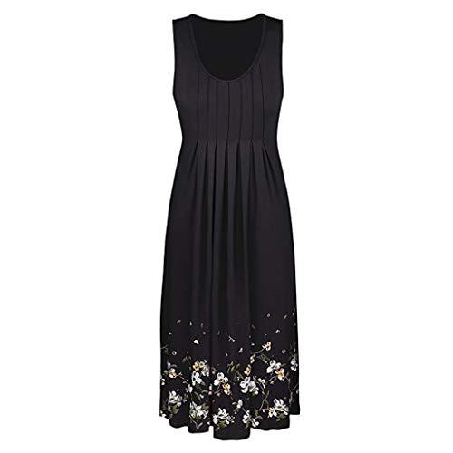 - Dress Casual Swing Simple T-Shirt Loose Dress Summer Sleeveless Evening Party Beach Dress Short Dress (L,Black)