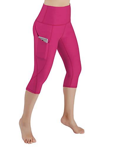 ODODOS High Waist Out Pocket Yoga Capris Pants Tummy Control Workout Running 4 Way Stretch Yoga Leggings,Fuchsia,Medium (Leggings Women Pink For)