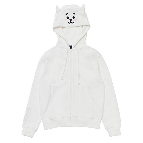 LINE FRIENDS BT21 Official Merchandise RJ Costume French Terry Hoodie Sweatshirts for Men and Women, Large, White