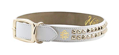 Mutt Couture Award-Winning Premium Dog Collars Boutique Style & Leather Dog Collar for Small, Medium, and Large Dogs | Heavy Duty Dog Collars (1 '' Wide (Medium), White Leather W Gold Studs) (Boutique Dog Collars)