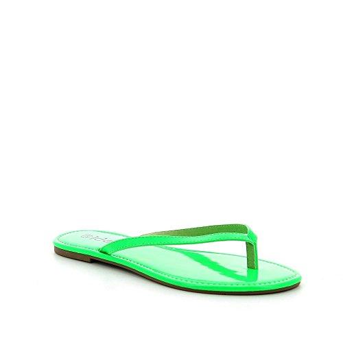 Ideal Shoes, Damen Zehentrenner Grün - grün