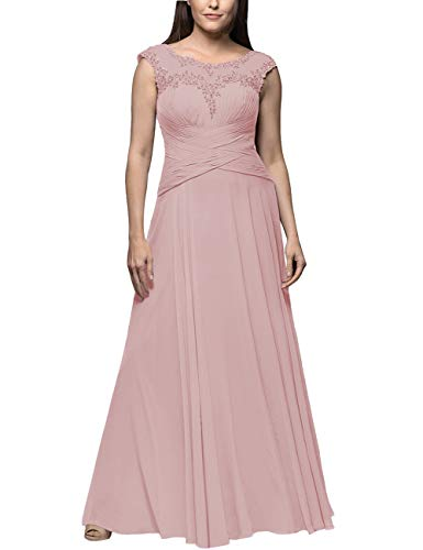 Jkara Woman Beaded Chiffon Gown - Chiffon Mother of The Bride Dresses Plus Size Long Evening Gowns Formal Prom Dress Beaded Appliques Dusty Rose US20W