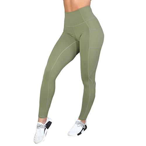(Yoga Pants High Waist Out Pocket Printed Pants Tummy Control Workout Running 4 Way Stretch Yoga Leggings Green)