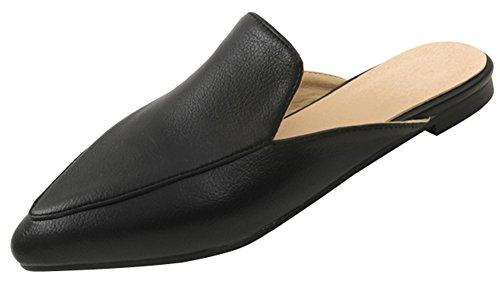 Mofri Women's Stylish Pointed Toe Clogs - Color Color Closed Toe - Slide on Flats Mules Shoes (Black, 4 B(M) US) by Mofri