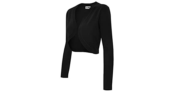 2425d6ffaa Ollie Arnes Women s Solid Basic Short and Long Sleeve Bolero Shrug Knit  Cardigan 70 Black L  Amazon.com.au  Fashion
