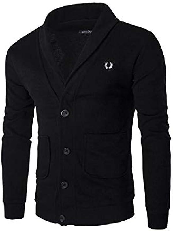 wkd-thvb Casual Męskie Cardigan V Ausschnitt Regular Fit Cardigan Sweatshirt Męskie Langarm Button Strick Cardigan: Odzież