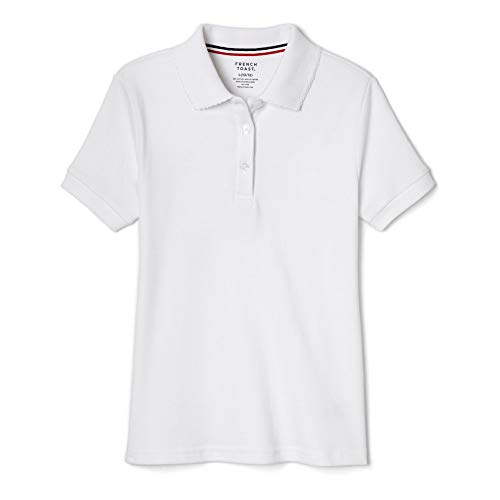 French Toast Big Girls' Short Sleeve Interlock Polo with Picot Collar, White, Large/10/12