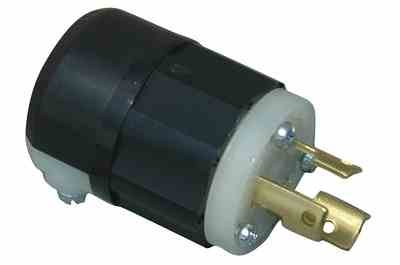 Twist Lock Plug Rated for 20 Amps - 2 Pole, 3 Wire - 250 Volts