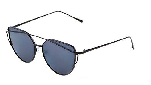Mod Cat Eye Sunglasses Crossbar Flat Lens Color Mirrored (Black/Black, - Kardashian Eye Sunglasses Cat