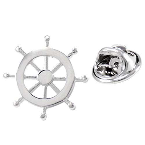 Prettyia Silver Brass Nautical Ship Steering Wheel Collar Lapel Badge Marine Charms Fashion Women Mens Shirt Pin