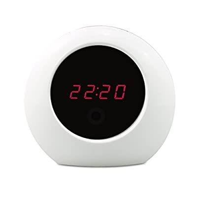 Sappywoon Hidden Camera Alarm Clock Motion Activated Clock Camera HD 1080P Loop Video Recorder Baby Monitor Spy Camera and Nanny Cameras, White by SAPPYWOON