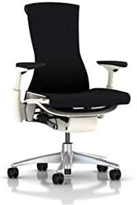 Herman Miller Ergonomic Embody Chair - Home Office Computer Desk Task Chair with Adjustable Arms Titanium Base White Frame and Upgraded Black Balance Fabric plus H9 Black Hard Floor Caster Wheels