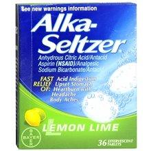Alka-Seltzer Antiacide / analgésique Effervescent Tablets Lemon Lime 36,0 ch. (Quantité de 6)