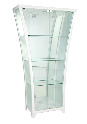 Milan Felicity Glossy Frosted Side Curio with Mirror Back, White by Milan