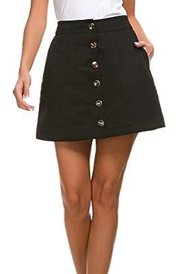 Pytha Sight Women's Corduroy-Like A-Line Button Front High Waist Mini Skirt with Pockets