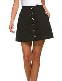 Women's Corduroy-Like A-Line Mini Skirt Button Front High Waist Skirt with Pockets