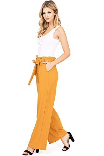 eb8f9e4664 Haute Monde Women's Juniors Pleated Dressy Wide Leg Palazzo Pants (L,  Mustard) from