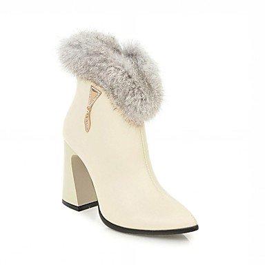 RTRY Zapatos De Mujer Polipiel Primavera Moda Invierno Botas Botas Chunky Talón Puntera Redonda Botines/Botines De Cremallera Para Oficina Informal &Amp; Carrera US10.5 / EU42 / UK8.5 / CN43