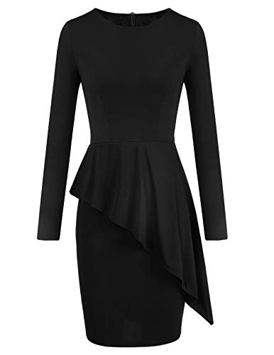 Womens Scoop Neck Peplum Dress Long Sleeves Date Night Out Fall Office Dresses Black s