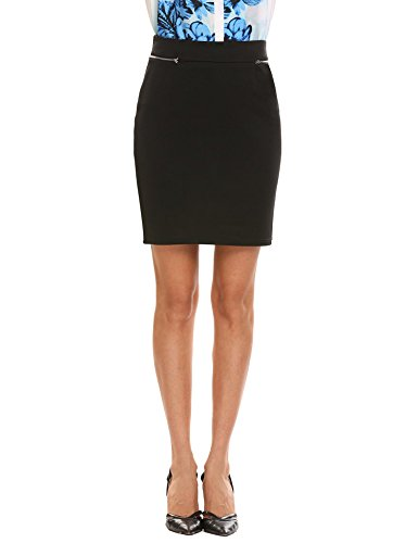 Zeagoo Women Zipper Decor Elastic Waist Business Bodycon Mini Pencil Skirt, Black (Business Casual Skirt)