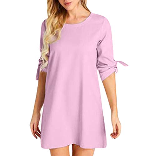DondPo Women's Shift Dress Bell Sleeve Casual Summer T Shirt Fashion Round Neck Temperament Solid Color A-Line Mini Dresses Pink]()