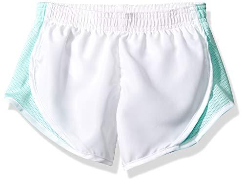 Soffe Girls' Big Team Shorty Short, White/Beach Glass Small