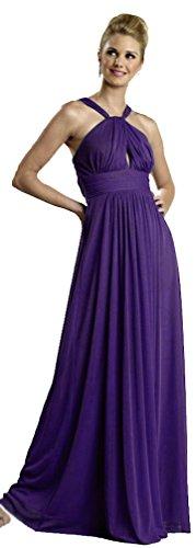 Gr Chiffon für Kleid Abendkleid Hochzeit lang Brautjungfernkleid elegant violett Abschlussball Kleid 46 0xq5Bvxw
