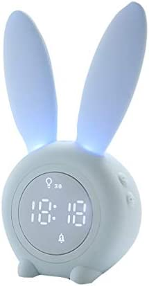 Elaco Cute Kawaii Rabbit Alarm Clock Creative Led Digital Cartoon Electronic Clock USB Rechargable
