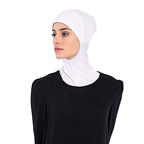 (YI HENG MEI Women's Full Cover Soft Comfortable Inner Hijab Caps Islamic Neck Cover,White)