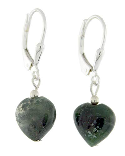 Sterling Silver Natural Moss Agate Lever Back Earrings