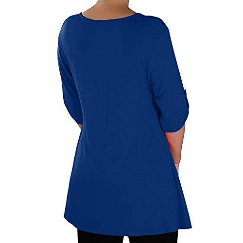 a Topkeal bonbon con blusa lunga scollo shirt lunga da tunica blu manica tinta unita a donna in T manica tessuto qHzpwHxY