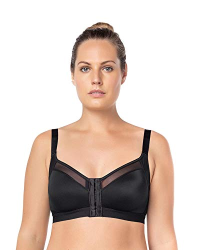 Leonisa Back Support Posture Corrector Wireless Sports Bra for Women with Contour Cups Black