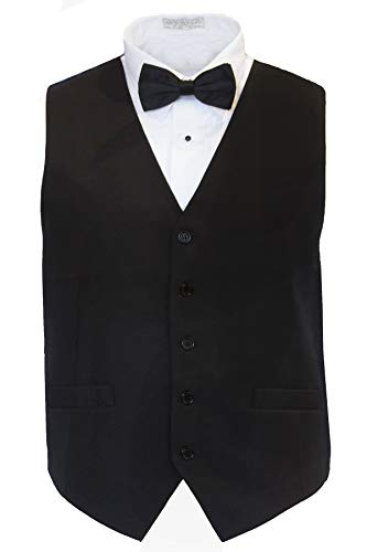 Marquis Men's Classic Fit Tuxedo Black Vest Set, L Vest & Bowtie by Marquis