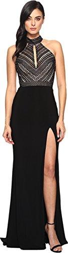Faviana Dress Black (Faviana Women's 4 Halter Solid Sleeveless Long Maxi Dress, Black, 4)