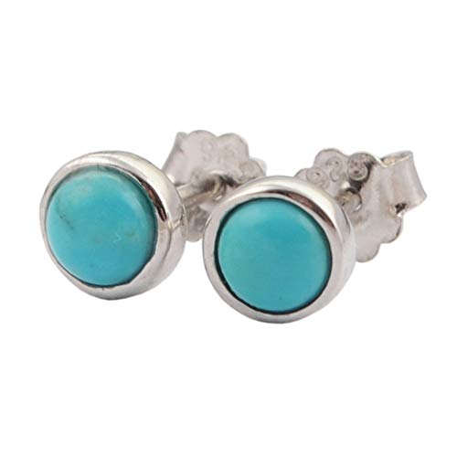 (ZENGORI 1 Pair 5MM 925 Sterling Silver Round Natural Turquoise Stud Earrings for Women SS186-2)