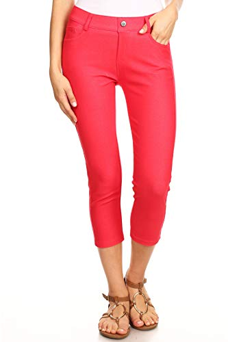 - ICONOFLASH Women's Plus Size Red 5 Pocket Capri Jeggings 2XL - Pull On Skinny Stretch Colored Jean Leggings Size 2X-Large