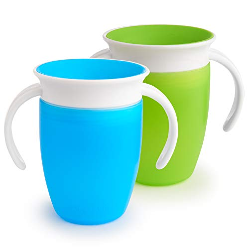 (Munchkin Miracle 360 Trainer Cup, Green/Blue, 7 Ounce, 2 Count)