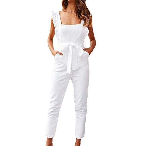 - Hurrybuy Jumpsuit,Women Square Collar Sleeveless Linen Shirred Sleeve Rompers Ruffle Office Work Pocket Playsuit with Belt White