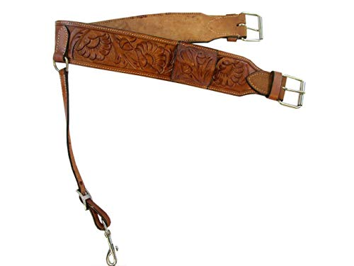 Floral Tooled Heavy Leather Back Rear Cinch Flank Billet Western Horse Girth Trail -
