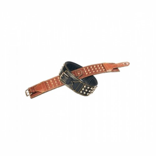 Petego La Cinopelca Padded Leather Double Studded Dog Collar, Black, 2 3/8 Inches, Fits 19 Inches to