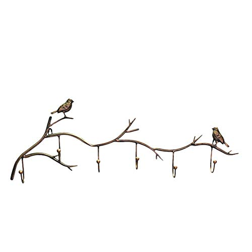 Branch Gold Tree (dissylove Decor Wall Mounted Coat Rack | Birds On Tree Branch Hanger with 6 Hooks | for Coats, Hats, Keys, Towels, Clothes Storage Hanger)