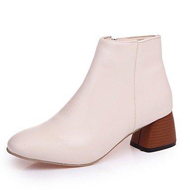 Cremallera Casual 5 Marrón Stiletto Para Acudiendo Pu Mujer US7 CN38 Moda RTRY Beige UK5 Confort Negro Zapatos Invierno 5 EU38 Puntera De Botas Botas Talón Redonda xU6aq1A
