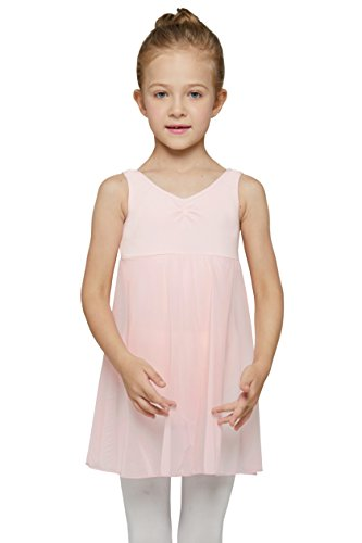 (Skirted Sleeveless Leotard for Girls by Mdnmd (Tag 120) Age 4-6, Ballet Pink))