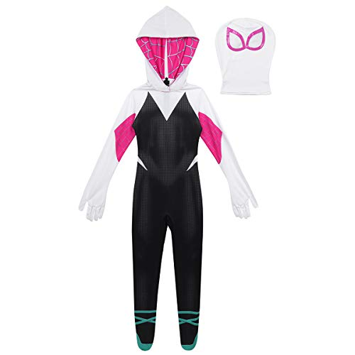 winying Girls Spider Costume 3D Digital Printed Hooded Full Body Jumpsuit Zentai with Head Mask Outfit Set Black&White 3-4
