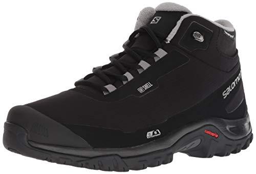 Salomon Men's Shelter CS Waterproof Hiking Boot, Black/Black/Frost Gray, 9.5 D US (Best Ice Shelter 2019)