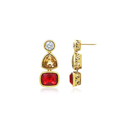 (J'ADMIRE 7 Carats Swarovski Elements Crystal Light Siam Emerald Bazel Stud Earrings, Yellow Gold Plated Sterling)