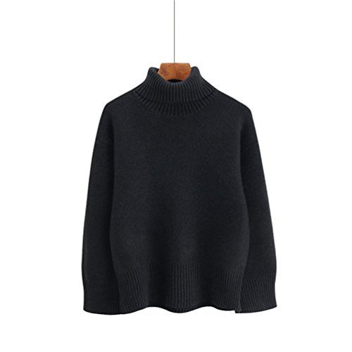 Col Couleur Roul Unie Femme Maille Rugueuse Pull YAANCUN qYz1Cwa