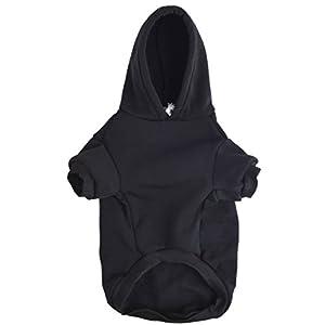 BINGPET Blank Basic Cotton/Polyester Pet Dog Sweatshirt Hoodie BA1002, Black Medium