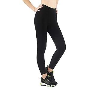 iloveSIA Legging Chaud Légèrement Molletonné Automne-Hiver Femme Uni Noir